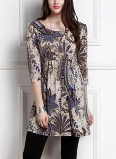 203ff2e4d24  Oasap -  oasap Vintage Floral Print 3 4 Sleeve Round Neck Mini Dress