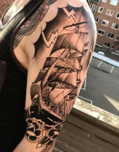 Tattoo sailors ship on Arm - http://tattootodesign.com/tattoo-sailors-ship-on-arm/ | #Tattoo, #Tattooed, #Tattoos