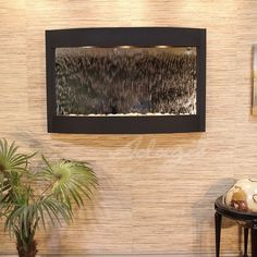 Adagio Fountains Calming Waters Natural Stone/Metal Wall Fountain with Light Finish: Textured Black, Stone: Silver Mirror Water Wall Fountain, Rock Fountain, Tabletop Water Fountain, Top Fontes, Feng Shui, Indoor Wall Fountains, Water Fountains, Indoor Water Features, Water Walls