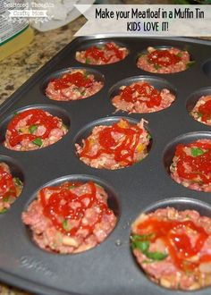 Cook your meatloaf in a muffin tin, the kids will love it!) recipe muffin tin Mini Meatloaf in a Muffin Tin Recipe Mini Meatloaf Recipes, Turkey Meatloaf Muffins, Ground Turkey Meatloaf, Good Meatloaf Recipe, Meat Loaf Recipe Easy, Best Meatloaf, Muffin Tin Meatloaf, Ground Beef, Mini Meat Loaf