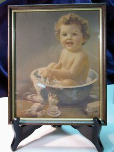 Vintage   Bessie Pease Gutmann Style  Bubbles  Baby  Original Print  8x10 Framed   Nursery Decor. $35.00, via Etsy.