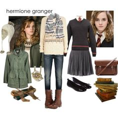Hermione Granger Outfit Collection - Just Crumbs Cakes Harry Potter Mode, Harry Potter Dress, Harry Potter Style, Harry Potter Outfits, Harry Potter World, Harry Potter Characters, Hermione Halloween Costume, Hermione Granger Costume, Emma Watson