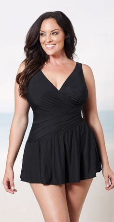 b026993d5b Miraclesuit Women s Plus Solid Aurora Tummy Control Swimdress