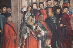 c.1496,Miracle of the Holy Cross at Rialto(detail) by Vittore Carpaccio.The painting shows the miracle of the healing of a madman through the relic of the Holy Cross,held by the Patriarch of Grado Francesco Querini,which took place in the Palazzo a San Silvestro on the Canal Grande,near the Rialto Bridge. tempera on canvas,365×389cm. Accademia of Venice.