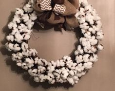 Cotton Wreath by FarmhouseExpressions on Etsy