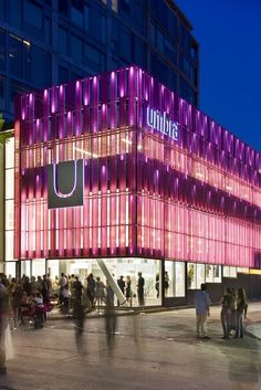 Umbra opening fila facade design, shop front design и Mall Design, Shop Front Design, Retail Design, Design Shop, Building Elevation, Front Elevation, Facade Lighting, Exterior Lighting, Lighting Design