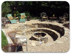 sunken fire pits | Picture of an elaborateinground stone fireplace