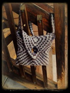 Hand Crocheted and Felted Purse Bag Tan Brown Wool