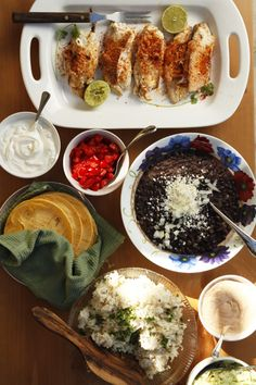 Grilled fish tacos, black beans, & cilantro rice
