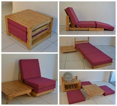 "KEWB (pronounced ""cube""), this compact piece starts out as a side table, but can be transformed into a chair and coffee table, a recliner, a single bed, and even an entire living room set. (Photos from sitandsleep.co.uk)"