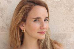 Rectangle Earrings , Geometric Earrings , Gold Earrings , Modern Earrings…