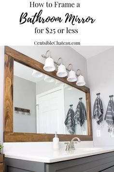 diy bathroom How to Frame a Builder Grade Bathroom - Bathroom Mirrors Diy, Bathroom Interior, Master Bathrooms, Budget Bathroom, Bathroom Designs, Neutral Bathroom, Luxury Bathrooms, Bathroom Mirror Makeover, Bathroom Styling