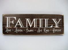 Rustic Wood Sign Wall Hanging Home Decor Family Love Family Wood Signs, Family Name Signs, Rustic Wood Signs, Wooden Signs, Family Names, Box Signs, Wall Signs, Family Love, Gifts For Family