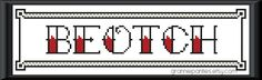 Beotch - tattoo letters - PDF counted cross stitch pattern. $2.00, via Etsy.