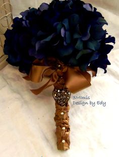Items similar to Fall Wedding Bouquet- Blue Hydrangea Bouquet ,Blue Bridal Bouquet, Boutonniere, Customized To Your Wedding Colors- SOLD on Etsy Hydrangea Bridal Bouquet, Blue Gold Wedding, Hydrangea Bouquet Wedding, Beach Wedding Bouquets, Wedding Brooch Bouquets, Bridesmaid Bouquet, Wedding Colors, Wedding Flowers, Gold Bouquet