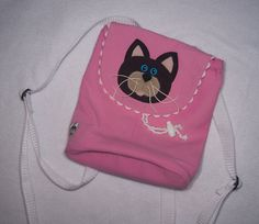 Pink Kitty Drawstring Backpack with Flap by SophisticatedStash