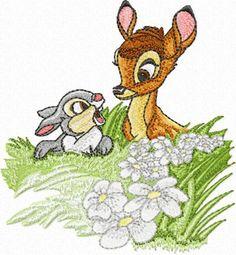 Jackrabbit & Bambi machine embroidery design