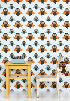 #Behang met uiltjes voor in de #kinderkamer van Ferm Living. | Wallpaper with owls for #Kidsroom