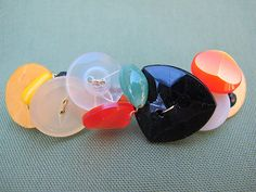 Multi-colored Button Barrette made with Vintage Buttons on Etsy, $10.00