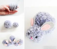 These pom pom bunnies are SO CUTE! Use chunky yarn and they end up being so soft and snuggly! Such an awesome spring or Easter craft to make with the kids! Easter Crafts To Make, Crafts For Teens To Make, Easy Crafts, Diy And Crafts, Kids Crafts, Easter Projects, Bunny Crafts, Easter Ideas, Diy Projects
