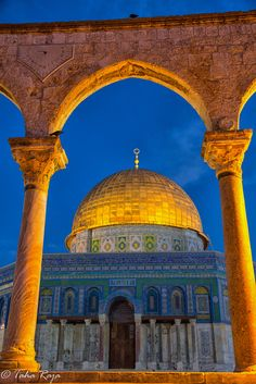 The Gold Dome of the Rock - (Arabic: قبة الصخرة, translit.: Qubbat Al-Sakhrah, Jerusalem Mosque Architecture, Art And Architecture, Dome Of The Rock, Jordan Travel, Jesus Art, Religion, Islamic Pictures, Place Of Worship, Holy Land
