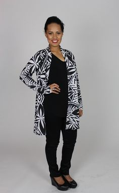 A Cardi with a lovely black and white Samoan material.