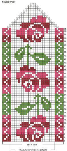 Arkisto on suljettu Crochet Mittens Free Pattern, Crochet Flower Patterns, Knit Mittens, Crochet Chart, Loom Patterns, Knitting Socks, Hand Knitting, Cross Stitch Patterns, Knitting Charts