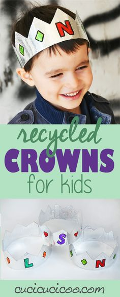 Tutorial: Make easy recycled crowns for kids with foil wrapping paper and cardboard