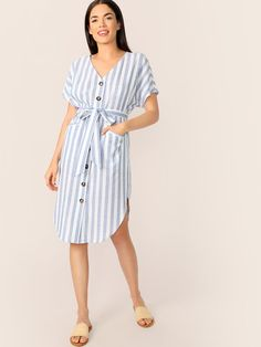 To find out about the Curved Hem Striped Belted Shirt Dress at SHEIN, part of our latest Dresses ready to shop online today! Belted Shirt Dress, Dress P, Boho Dress, Dress Outfits, Casual Dresses, Summer Dresses, Shift Dresses, Dress Clothes, Natural Clothing