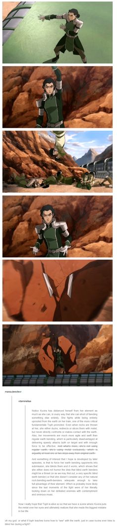 Notice Kuvira has distanced herself from her element as much as she can, in every way that she can short of bending something else entirely.