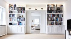 Library wall with passage between two rooms Bookshelf Inspiration, Living Room Inspiration, Living Room Bookcase, Interior Design Living Room, Grey Interior Design, Built In Bookcase, Kids Room Design, Minimalist Home, Built Ins