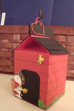 Snoopy's Doghouse Made from Milk Carton