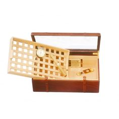 Cigar box with lattice removable tray and glass lid #gifts #accessories #men #handmade #exclusive #leathergoods
