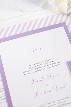 Looking for a pop of purple? Our Sophisticated Modern Purple Striped Wedding Invitations are perfect for you! www.shineweddinginvitations.com/blog/sophisticated-wedding-invitations-in-purple/