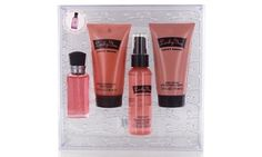 This set contains eau de toilette, body mist, shower gel, and body lotion in a floral fruity fragrance for women