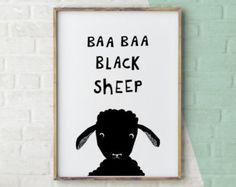 Baa Baa Black Sheep Kids Art would look great in a Black and White Nursery. Nursery Rhyme art for kids