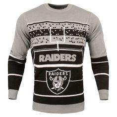 Men's Oakland Raiders Gray Stadium Light Up Sweater