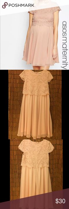 New Asos Pink Lace Maternity Skater Dress  4 New Women's Asos Pink Lace Maternity Skater Dress Cap Sleeves Zip Back. Brand new with tags and never worn. Size 4. ASOS Dresses