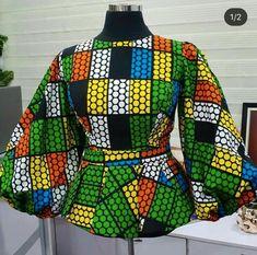 Ankara Tops Blouses, Ankara Peplum Tops, African Blouses, Ankara Blouse, Ankara Skirt, Short African Dresses, Latest African Fashion Dresses, African Print Fashion, African Prints