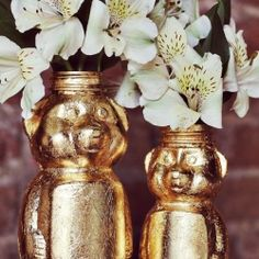 Turn old honey bear jars into a thing of beauty. Put pretty flowers in them too.