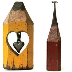 dalton left to right hanging heart and big hammer Miniature Sculptures on the Tip of a Pencil   Dalton Ghetti Art Gallery