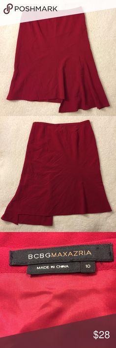 "BCBG Maxazria Asymmetrical A line Red Skirt Sz 10 Gorgeous Asymmetrical Dress A line Red Skirt Sz 10 ❣️Waist 33"" ❣️ Hips 38-39"" ❣️ Length 25"" ❣️polyester & rayon ❣️ Fully lined ❣️ Dry clean only❣️ BCBGMaxAzria Skirts Asymmetrical"