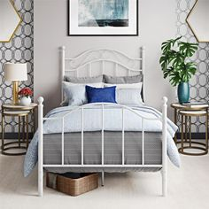 Mainstays Traditional Metal Bed, Twin, White, With Headboard Image 1 of 6 Girls Furniture, Furniture Ads, Bedroom Furniture, Bedroom Decor, Bedroom Ideas, Modern Furniture, Street Furniture, Luxury Furniture, Metal Beds