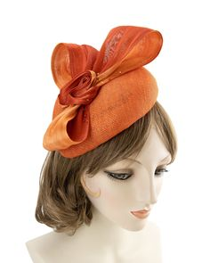 Orange Sinamay Fascinator. Couture Straw Perching Beret w/ Silk Abaca Bow. Fashion at the Races Cocktail Hat. Derby Hatinator, Wedding Hat.