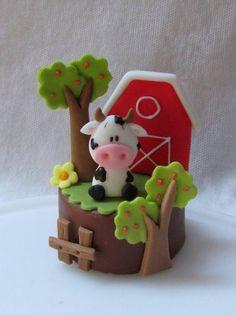 Pequenas fofuras Farm Animal Cakes, Farm Animal Party, Farm Party, Fondant Toppers, Fondant Cakes, Cupcake Cakes, Baby Birthday Cakes, Farm Birthday, Clay Projects