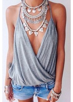 top women sexy grey shorts summer top cute top grey top summer outfits summer summer shorts summer accessories style fashion cute outfits cute shorts outfit outfit idea tumblr outfit spring outfits party outfits denim shorts denim blue shorts plunge v neck plunge neckline spaghetti strap girl trendy girl shirts tattoo accessories accessory jewels jewelry hand jewelry frantic jewelry necklace statement necklace mini shorts