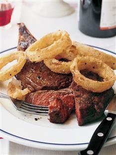 Barefoot Contessa - Recipes - Rib Eye Steaks with Cornmeal-Fried Onion Rings