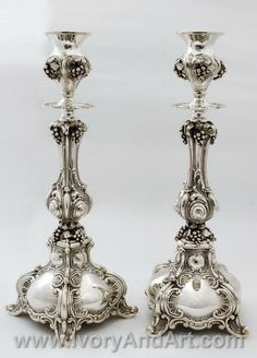 Silver Judaica Ben Yehoda silver candlestick, have been intricately handcrafted with beautiful designs, pertaining to the traditional motifs. Silver Candlesticks, Silver Trays, Silver Spoons, Vintage Silver, Antique Silver, Eclectic Frames, Silver Pooja Items, Antique Oil Lamps, Curve Design