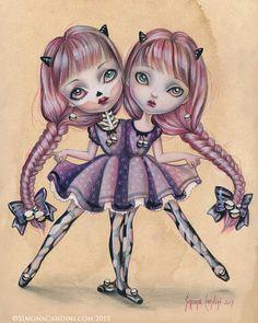 Amabel et Isabeau LIMITED EDITION impression signée numérotée Simona Candini Art jointes jumeaux Lowbrow pop surréaliste Creepy sœurs rose pourpre