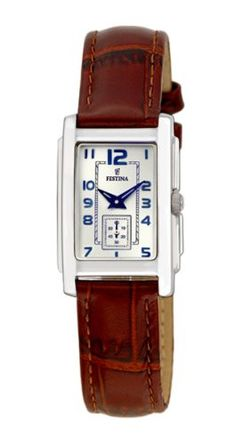 Festina F16198/2 Women's Watch Blue Hands Silver Dial Leather Strap